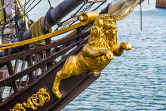 Golden galion figure on a sailship Royalty Free Stock Photo