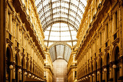 Golden gallery in Milan. Vittorio Emanueles gallery from Milan Italy royalty free stock photo