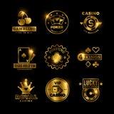 Golden gambling, casino, poker royal tournament, roulette vector labels, emblems, logos and badges royalty free illustration