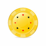 Golden gambling chip with suits. Heart, diamond, spade, club. Realistic chip. Vector illustration Royalty Free Stock Photo