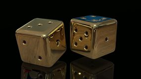 Golden Gaming dices 3d. Golden Gaming dices on black background 3d stock illustration