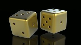 Golden Gaming dices 3d. Golden Gaming dices isolated on black background 3d stock illustration