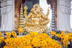 Golden Ganesh statue at Central World Royalty Free Stock Photography