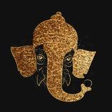 Golden Ganesha Face for Ganesh Chaturthi. Golden Glittering, Vector illustration of Lord Ganesha Face for Indian Festivals, Happy Ganesha Chaturthi Celebration Royalty Free Stock Photography