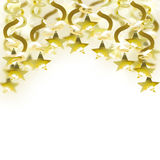 Golden garland with star. Border of golden garlands with stars  on white background Royalty Free Stock Images