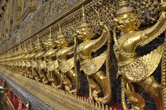 Golden Garuda Row Sculpture Thailand Royalty Free Stock Images