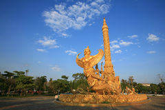 Golden garuda sculpture attached on ship Royalty Free Stock Images