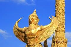 Golden Garuda Thai style statue art. In  Thai temple Stock Photography