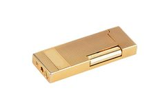 Golden gas cigarette lighter Royalty Free Stock Photo