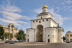 The Golden Gate – Historical Emblem of Vladimir. VLADIMIR, RUSSIA - The western gate of the ancient Vladimir city in accordance with ancient tradition was stock images