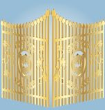 Golden gate. On a blue background gold wrought-iron gates Royalty Free Stock Images