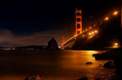 Golden Gate. At night facing the city of San Francisco Royalty Free Stock Photo