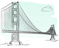 Golden Gate vector. Illustration of golden gate in San Francisco + vector eps file Royalty Free Stock Photo