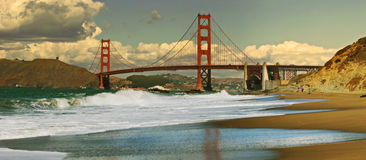 Golden Gate. Panoramic picture of Golden Gate bridge in San Francisco USA Stock Photography