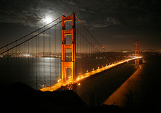 Golden Gate. Bridge at night Stock Images