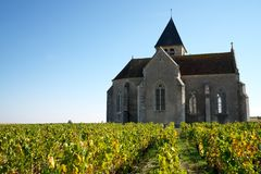 Golden Gate av Bourgogne, by av Chablis i den Bourgogne regionen som är berömd för vitt vin royaltyfri foto