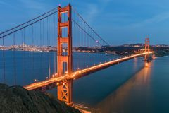 The Golden Gate from Battery Spencer. Views of the Golden Gate Bridge and San Francisco skyline from Battery Spencer. Sausalito, Marin County, California, USA Stock Images