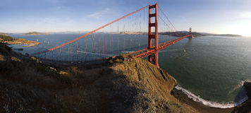 Golden Gate and Beach Pano Royalty Free Stock Photography