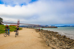 Golden Gate bike tourists Royalty Free Stock Images