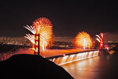 Golden Gate Birthday. Fireworks erupt from the Golden Gate Bridge in San Francisco as the city puts on a 75th birthday celebration for the bridge Royalty Free Stock Images