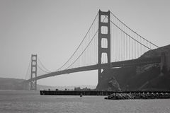 Golden Gate in Black and White. The Golden Gate Bridge over the bay on a clear spring day stock photography