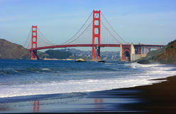 Golden Gate bridge. As seen from the Baker beach, San Francisco, California Royalty Free Stock Images