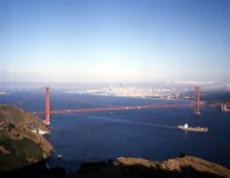 GOLDEN GATE BRIDGE. View of Golden Gate Bridge with San Francisco in background Royalty Free Stock Images