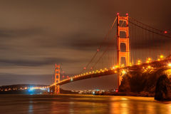 Golden Gate Bridge. The Golden Gate Bridge at night in San Francisco, California Stock Images
