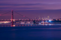 Golden Gate Bridge. At night San Francisco California Stock Images