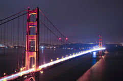 Golden Gate Bridge. At night San Francisco California royalty free stock photo