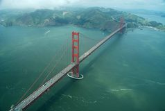 Golden gate bridge. Seen from the air stock image