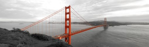 Golden Gate Bridge. A selective full-length color image of the Golden Gate Bridge in San Francisco, one of the modern Wonders of the World stock photography