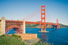 Golden Gate Bridge. At sunset, Sun Francisco Royalty Free Stock Images