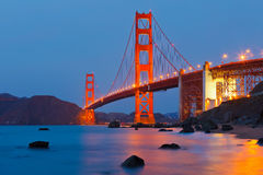 Golden Gate bridge. At night Stock Photography