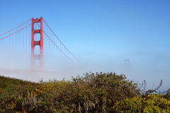 Golden Gate Bridge. Partly foggy and with sunshine Stock Photo