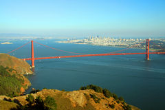Golden Gate bridge. Scenic view of Golden Gate Bridge with Alcatraz island and city in background, San Francisco, California, U.S.A Royalty Free Stock Images
