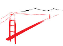 Golden Gate Bridge. Berated with a paintbrush Royalty Free Stock Images