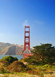 Golden Gate Bridge. Unique perspective of Golden Gate Bridge vertical with traffic royalty free stock image