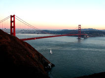 The Golden Gate Bridge. Right as the sun sets royalty free stock image