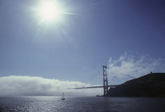 Golden Gate Bridge. Fog rolls over the Golden Gate Bridge in San Francisco Royalty Free Stock Photos