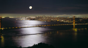 Golden Gate Bridge. At night with full moon Stock Photography