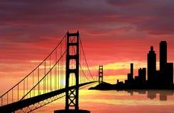 Golden Gate Bridge. On sunset Stock Image