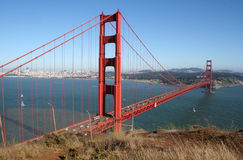 Golden Gate Bridge. A photograph taken at a popular viewpoint, of the world-famous Golden Gate Bridge in San Francisco, California, USA.  Taken on a beautifully Royalty Free Stock Photos