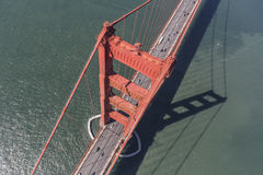 Golden Gate Bridge Aerial Down View Royalty Free Stock Images