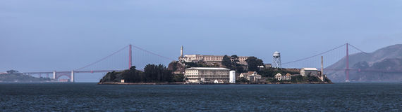 Golden Gate Bridge and Alcatraz Royalty Free Stock Images