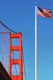 Golden Gate Bridge and American National Flag. Royalty Free Stock Photo