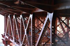 The lattice work, the underworking of the Golden Gate Bridge, 1. royalty free stock image