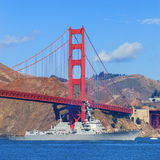 Golden Gate Bridge and army boat in San Francisco, California, U Stock Photo