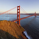 The Golden Gate Bridge as seen from the Marin Headlands. Wide angle photograph of the Golden Gate Bridge from the Marin Headlands with San Francisco beyond Stock Photo