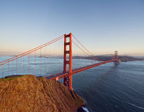 The Golden Gate Bridge as seen from the Marin Headlands. Wide angle photograph of the Golden Gate Bridge from the Marin Headlands with San Francisco beyond Stock Image